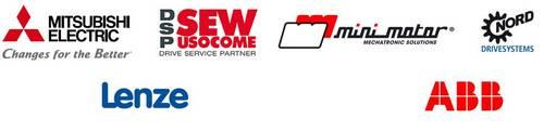 Nos partenaires de variateurs : Mitsubishi, Sew usowome, Mini Motor, ABB, Lenze